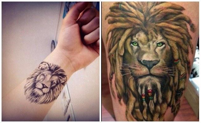 Tatuajes de leones de colores