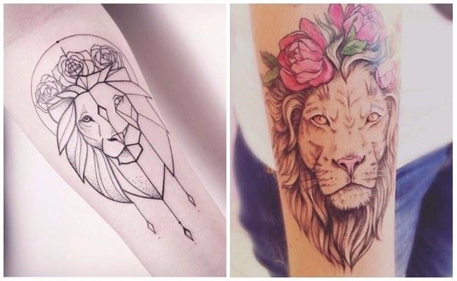 Tatuajes de leones en la mano