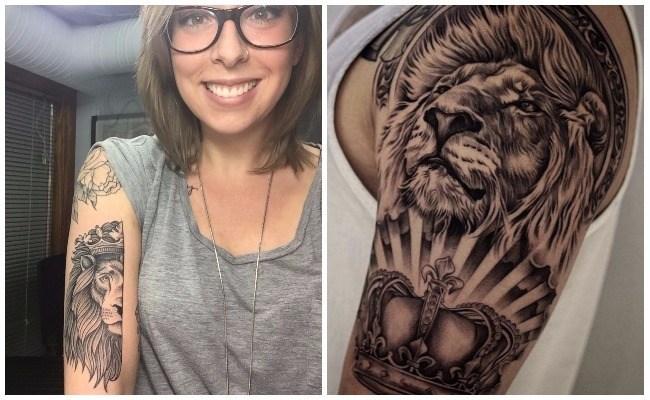 Tatuajes de leones en la pierna