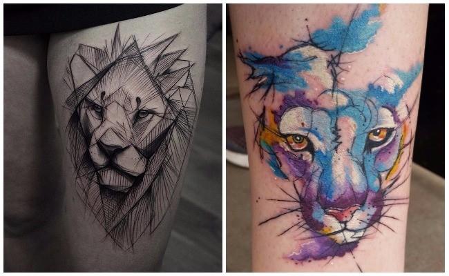 Tatuajes de leones en realismo