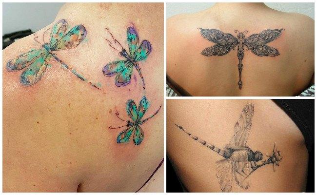 Tatuajes de libélulas en el tobillo