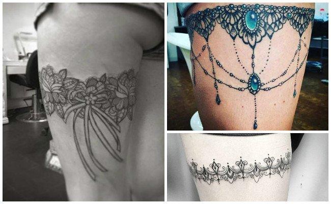 Tatuajes de ligueros con joyas