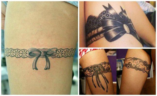 Tatuajes de ligueros con lazo