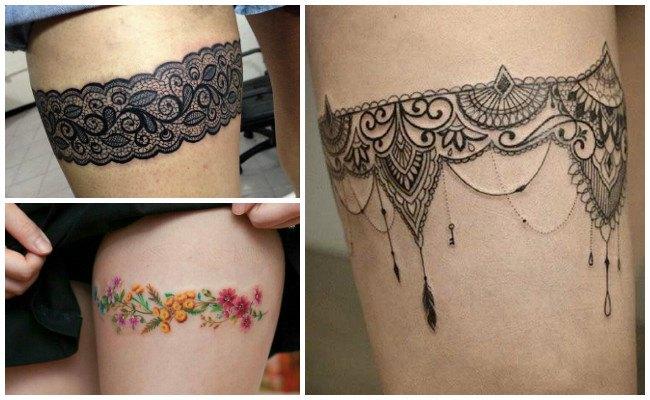 Tatuajes de ligueros con flores