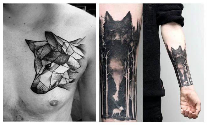 Tatuajes de lobos en el bosque