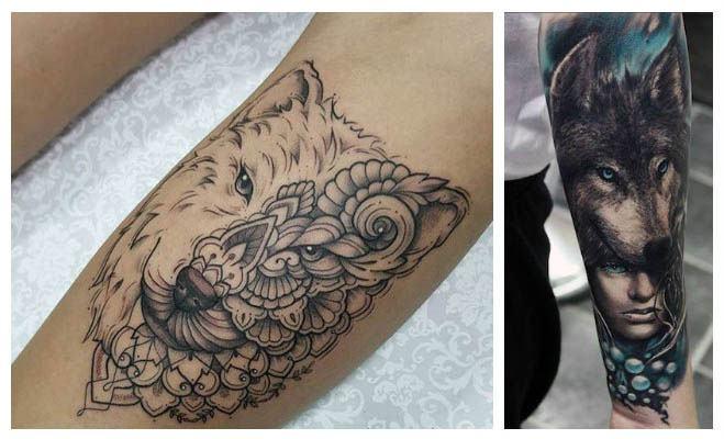 Tatuaje de lobo con cabeza de mujer
