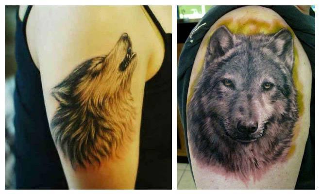 Tatuajes de lobos con paisajes