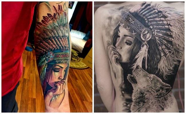 Tatuajes de lobos e indios