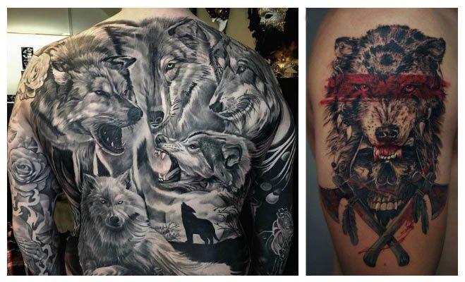 Tatuajes de lobos feroces