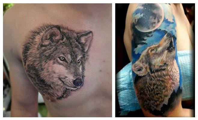 Tatuajes de lobos con una luna