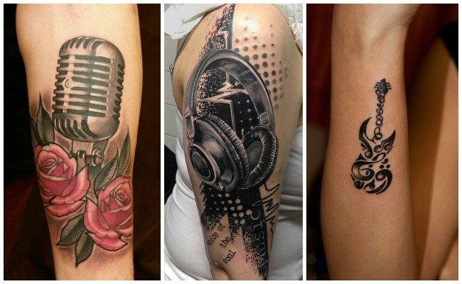 Tatuajes de notas musicales en el antebrazo