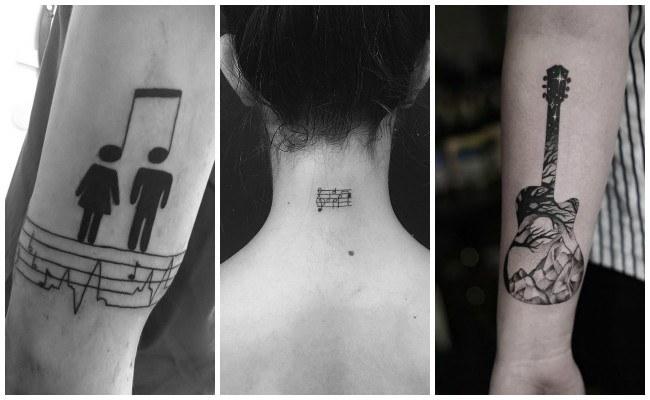 Tatuajes de notas musicales en la espalda