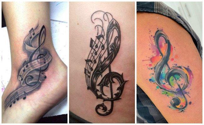 Tatuajes de notas musicales para mujer