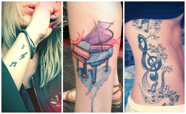 Tatuajes de notas musicales en la oreja