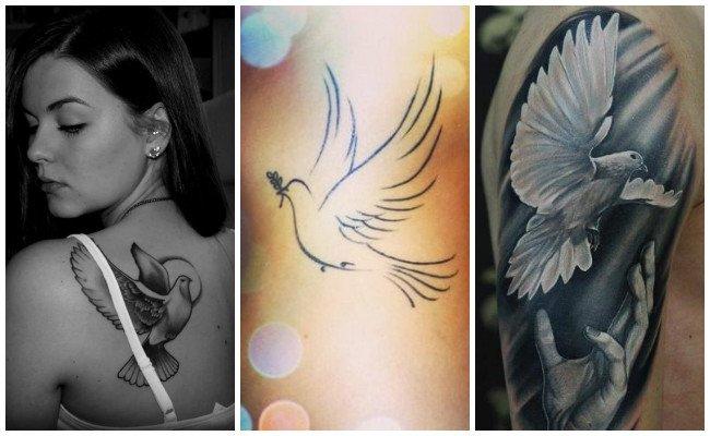 Tatuajes de palomas con rosas