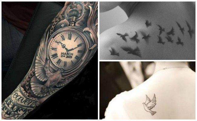 Tatuajes de palomas en el brazo