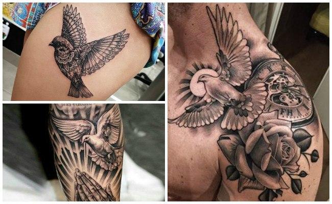 Tatuajes de palomas en el cuello