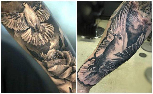 Tatuajes de palomas en el pie