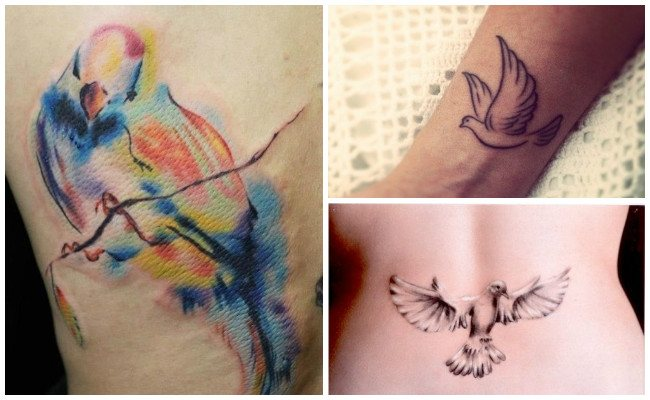 Tatuajes de palomas en el tobillo