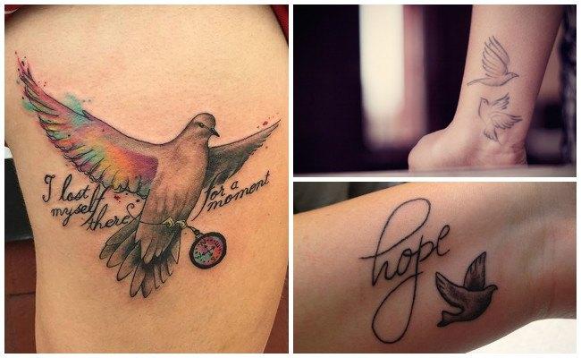 Tatuajes de palomas en la espalda
