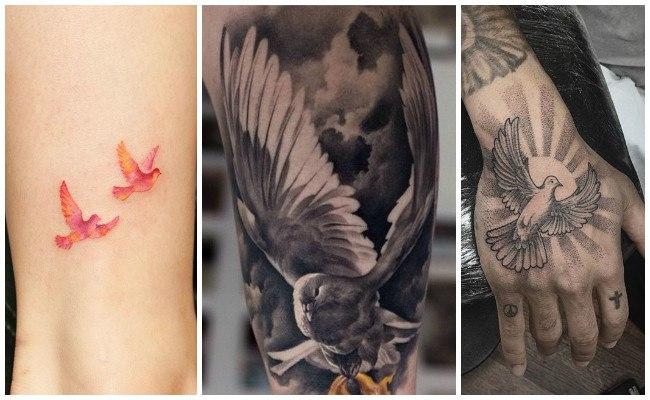 Tatuajes de palomas en la mano