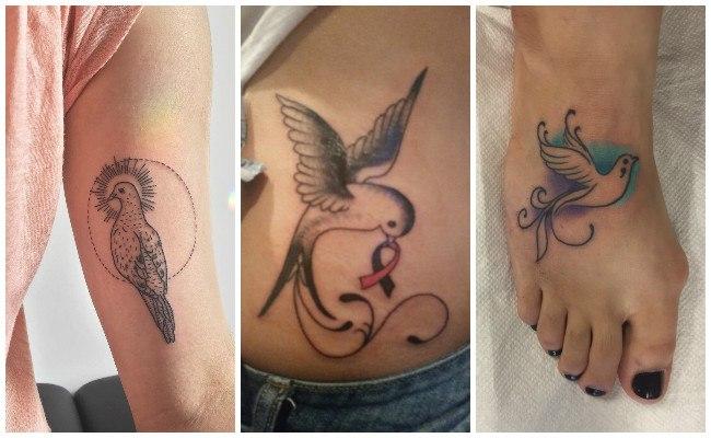 Tatuajes de palomas en la muñeca