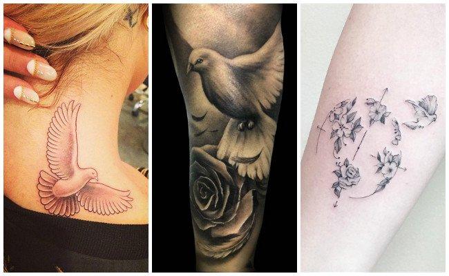 Tatuajes de palomas para mujer