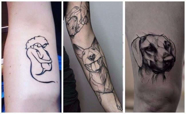Tatuajes de perros en el brazo