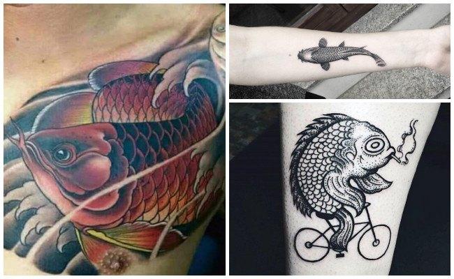 Tatuajes de pez koi en la pierna