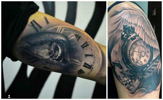 Tatuajes de relojes a color
