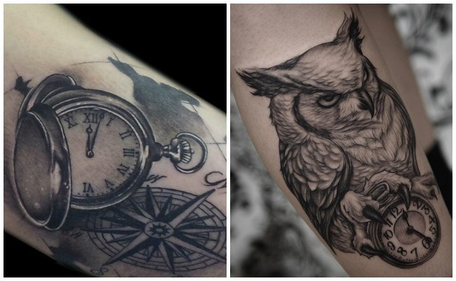 Tatuajes de relojes con flores