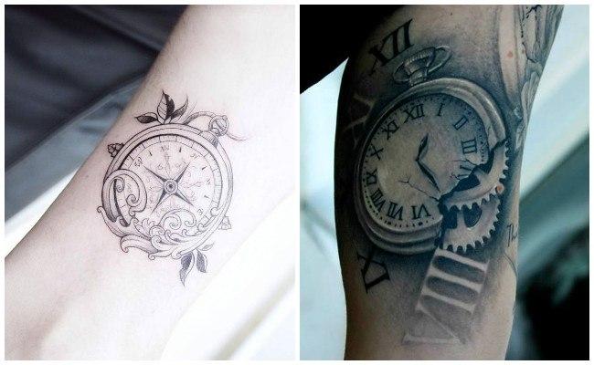 Tatuajes de relojes con rosas