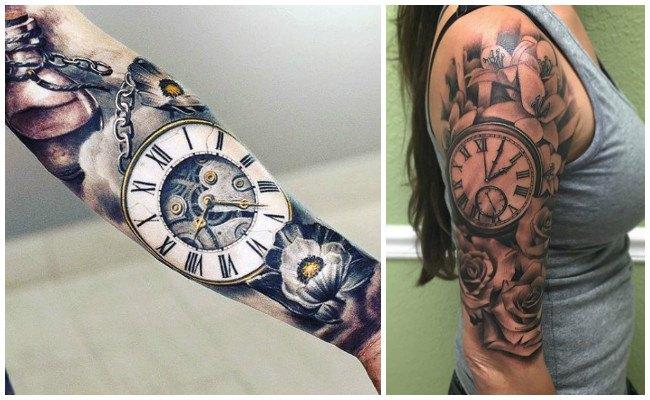 Tatuajes de relojes en el hombro