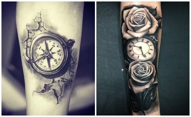 Tatuajes de relojes y flores