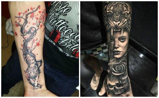 Tatuajes de tigres pequeños en el brazo