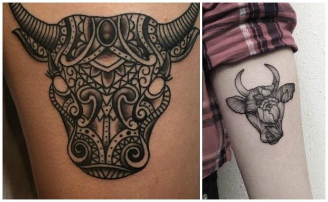 Tatuajes de toros en el gemelo