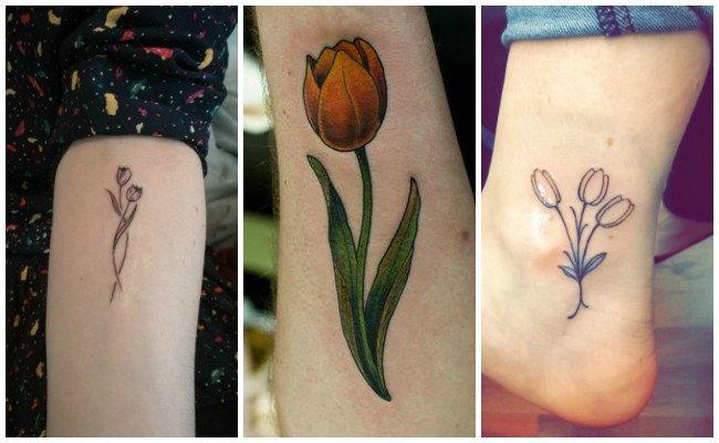 Tatuajes de tulipanes de acuarela