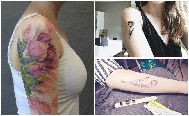 Tatuajes de tulipanes en el brazo