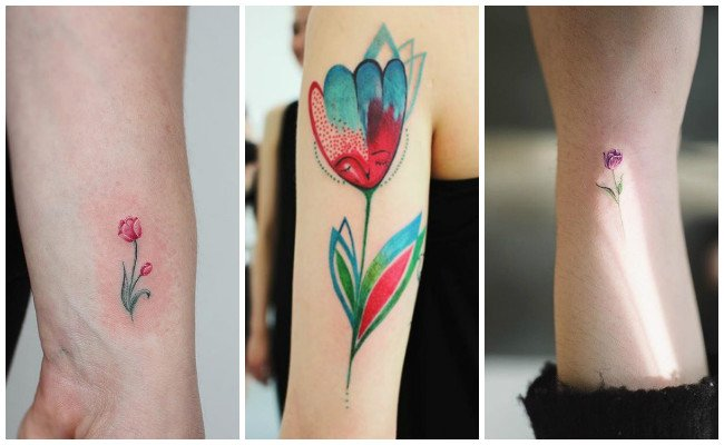 Tatuajes de tulipanes en la espalda