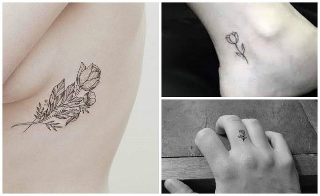 Tatuajes de tulipanes en el hombro
