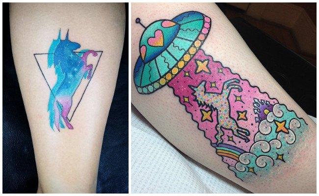 Tatuajes de unicornios en el antebrazo