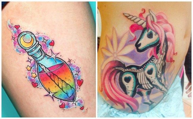Tatuajes de unicornios en las costillas