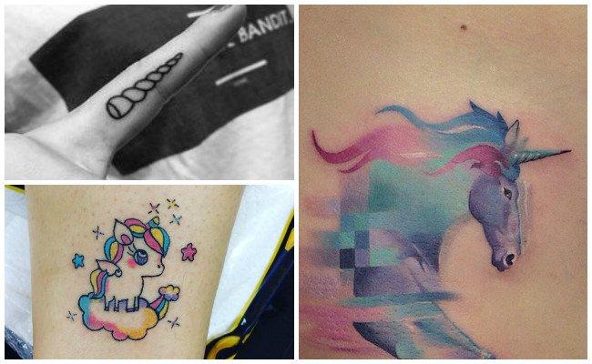 Tatuajes de unicornios con el cuerno