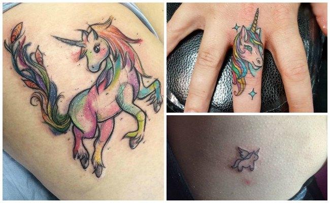 Tatuajes de unicornios en los dedos