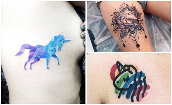 Tatuajes de unicornios en la espalda