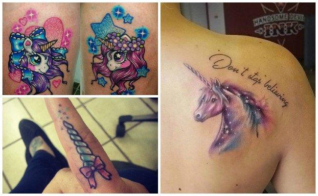Tatuajes de unicornios en el gemelo