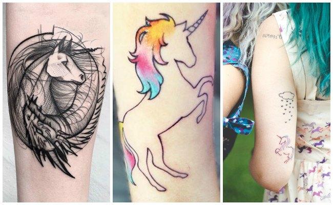 Tatuajes de unicornios de líneas