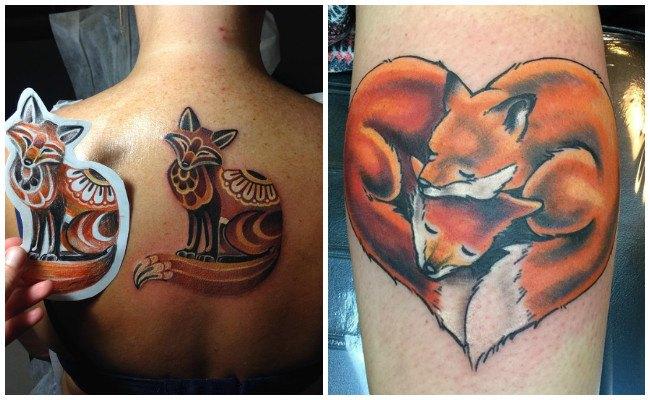 Tatuajes de zorros en la espalda