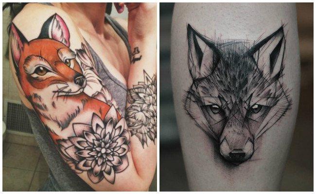 Tatuajes de zorros geométricos
