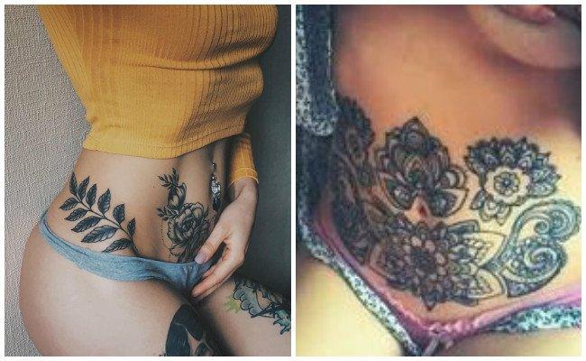 Tatuajes en el abdomen de la mujer